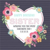 Heart And Flowers Happy Birthday Sister Card, Square Card Size By Moonpig