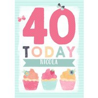 Colourful Cupcakes Happy 40Th Birthday Personalised Name Card, Large Size By Moonpig