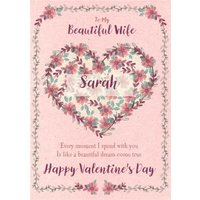 Floral Heart To My Beautiful Wife Valentines Day Card, Giant Size By Moonpig