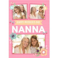 Pink Striped Happy Mother's Day Nanna Photo Card, Standard Size By Moonpig