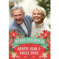 Folk Flowers Photo Upload Christmas Card Merry To You Auntie And Uncle, Standard Size By Moonpig
