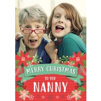 Folk Flowers Photo Upload Christmas Card Merry To You Nanny, Standard Size By Moonpig