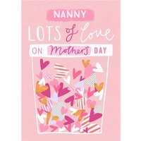 Colourful Hearts To My Nanny Happy Mother's Day Card, Large Size By Moonpig