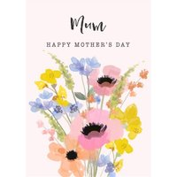 Happy Mothers Day Mum Mom Flowers Floral Bouquet Card, Standard Size By Moonpig