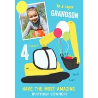To A Super Grandson Bright Colourful Age 4 Photo Upload Birthday Card, Large Size By Moonpig