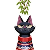 Folio Cat Mistletoe Christmas Card, Standard Size By Moonpig