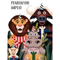 Folio Jungle Animals Welsh Happy Birthday Card, Standard Size By Moonpig