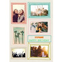 Colourful Picture Frame Multi-Photo Card, Standard Size By Moonpig