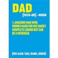 Funny Rude Typography Dictionary The Meaning Of Dad Card