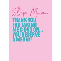 Step Mum You Deserve A Medal Card, Large Size By Moonpig