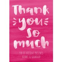 Pink Watercolour And Brush Script Type Personalised Thank You Postcard, Postcard Size By Moonpig