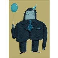 Modern Cute Illustration Party Gorilla Birthday Card, Standard Size By Moonpig
