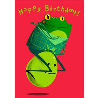 Modern Cute Illustration Frog On A Space Hopper Birthday Card, Giant Size By Moonpig