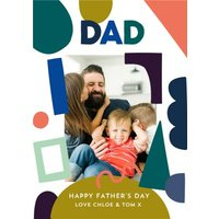 Colourful Abstract Shapes Father's Day Photo Card, Large Size By Moonpig