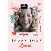 Happy Bday Fun Modern Photo Upload Card - Stickers Emojis, Large Size By Moonpig