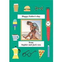 Father's Day Illustrations Photo Upload Card, Standard Size By Moonpig