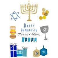 Hand Drawn Personalised Hanukkah Menorah Card, Standard Size By Moonpig