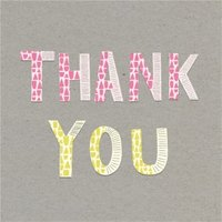 Colourful Patterned Letters Thank You Card, Large Square Card Size By Moonpig