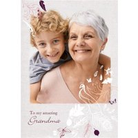 White Flowers And Birds To My Amazing Grandma Photo Card, Standard Size By Moonpig