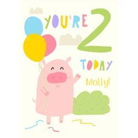 Illustrated Pig Farm Animals You Are 2 Today Birthday Card, Standard Size By Moonpig
