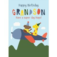 Illustrated Animals Riding A Plane Happy Birthday Grandson Personalised Card, Large Size By Moonpig