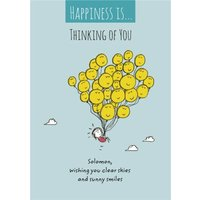 Happy Balloons Thinking Of You Personalised Card, Large Size By Moonpig