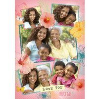 Coral, Yellow And Green Love You Mum Personalised Photo Upload Mother's Day Card, Large Size By Moon