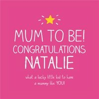 Happy Jackson Personalised Mum To Be Card, Large Square Card Size By Moonpig