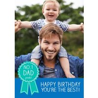 No1 Dad Yeah Personalised Photo Upload Father's Day Card, Standard Size By Moonpig