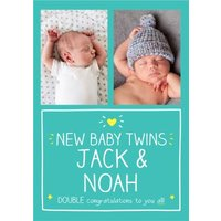 Happy Jackson New Baby Twins Photo Upload Card , Standard Size By Moonpig