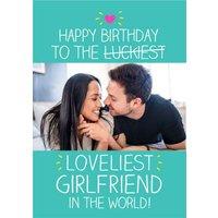 Happy Jackson Luckiest Loveliest Girlfriend In The World Photo Upload Birthday Card, Standard Size B