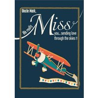 Retro Airplane Sending Love Through The Skies Miss You Card, Giant Size By Moonpig
