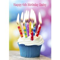 Cupcake With Colourful Candles Personalised Birthday Card, Large Size By Moonpig