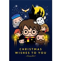 Harry Potter Cartoon Christmas Wishes To You Card, Giant Size By Moonpig