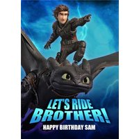 'Let's Ride Brother! - How To Train Your Dragon Birthday Card , Standard Size By Moonpig
