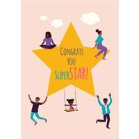 Huetribe Congrats You Super Star Card, Giant Size By Moonpig