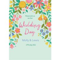 Illustrated Floral Design Wedding Invitation Card, Large Size By Moonpig
