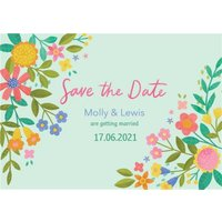 Illustrated Floral Design Wedding Save The Date Card, Standard Size By Moonpig