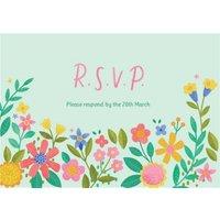 Illustrated Floral Design Wedding RSVP Card, Standard Size By Moonpig