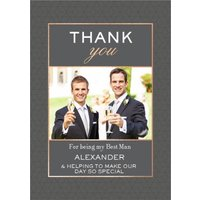 Geometric Pattern Graphic Typographic Wedding Thank You For Being My Best Man Photo Upload Card, Sta