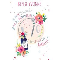 70th Platinum Wedding Anniversary Champagne Card, Standard Size By Moonpig