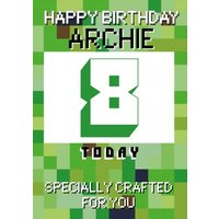 Pixelated Gaming Personalise Age Happy Birthday Card, Standard Size By Moonpig