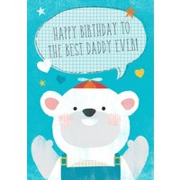 Cartoon Polar Bear Best Daddy Ever Personalised Happy Birthday Card For Dad, Large Size By Moonpig