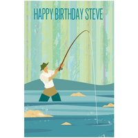 Fly Fishing Personalised Happy Birthday Card, Large Size By Moonpig