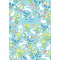 Easter Day Card - Happy Eggs Bunnies, Large Size By Moonpig