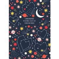 Colourful Cosmos You're Out Of This World Girlfriend Valentine's Card, Large Size By Moonpig