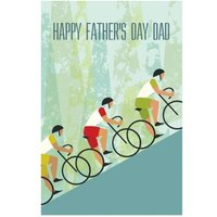 Cartoon Cyclists Climbing A Hill Personalised Happy Father's Day Card, Giant Size By Moonpig