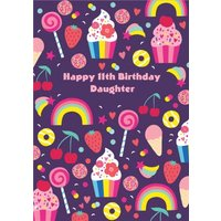 Rainbow Daughter 11th Birthday Card, Giant Size By Moonpig
