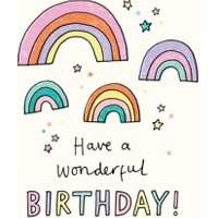 Illustrated Rainbows Have A Wonderful Birthday Card, Giant Size By Moonpig