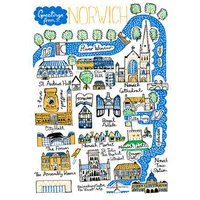 Illustrated Scenic Map Greetings From Norwich Card, Standard Size By Moonpig